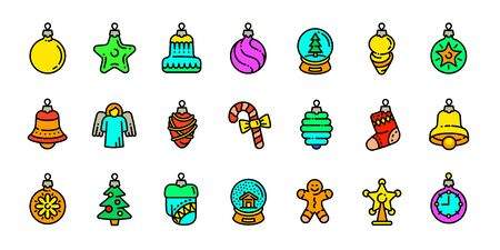 Christmas tree toys icons set. Outline set of Christmas tree toys vector icons for web design isolated on white background