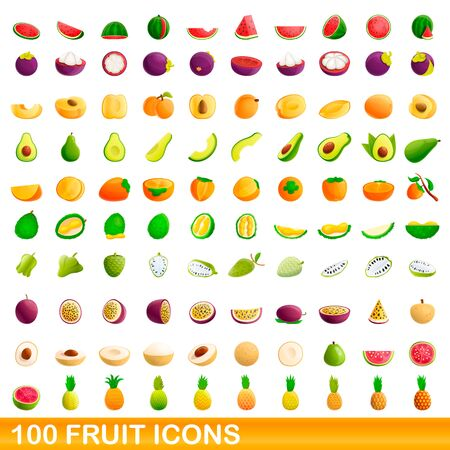 100 fruit icons set. Cartoon illustration of 100 fruit icons vector set isolated on white background Illusztráció