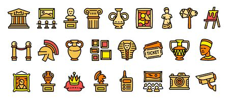 Museum icons set. Outline set of museum vector icons for web design isolated on white background Çizim