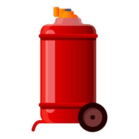 Fire extinguisher on wheels icon. Cartoon of fire extinguisher on wheels vector icon for web design isolated on white background
