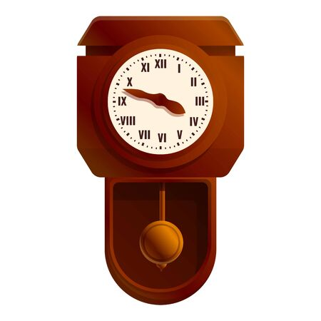 Antique pendulum clock icon. Cartoon of antique pendulum clock vector icon for web design isolated on white background