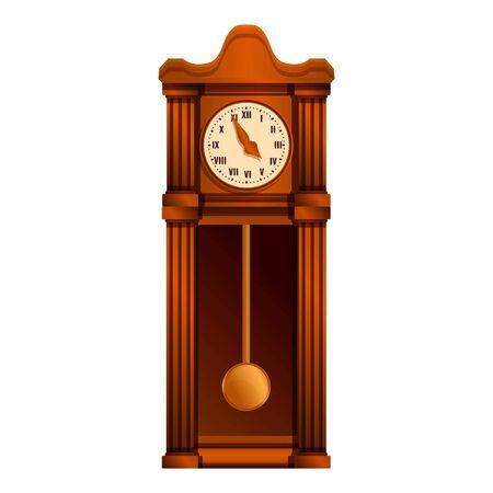 Ancient pendulum clock icon. Cartoon of ancient pendulum clock vector icon for web design isolated on white background Векторная Иллюстрация