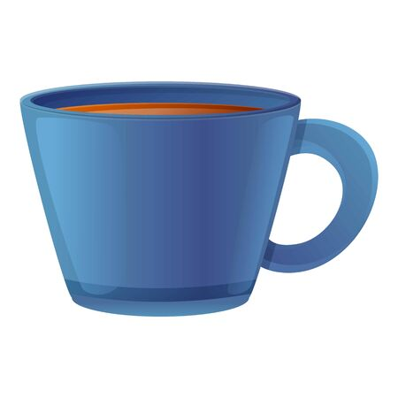 Blue tea cup icon. Cartoon of blue tea cup vector icon for web design isolated on white background