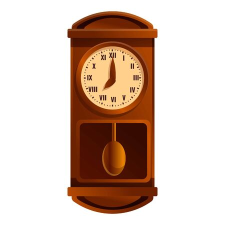 Home pendulum clock icon. Cartoon of home pendulum clock vector icon for web design isolated on white background