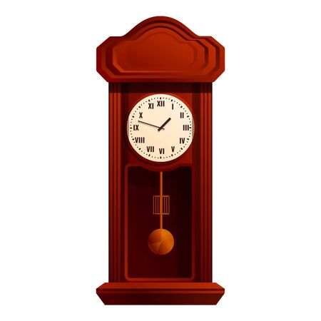 Wooden pendulum clock icon. Cartoon of wooden pendulum clock vector icon for web design isolated on white background