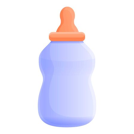 Plastic baby milk bottle icon. Cartoon of plastic baby milk bottle vector icon for web design isolated on white background
