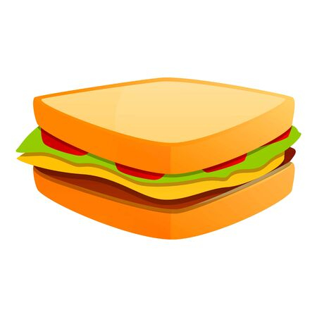 Sandwich bar icon. Cartoon of sandwich bar vector icon for web design isolated on white background Ilustracja
