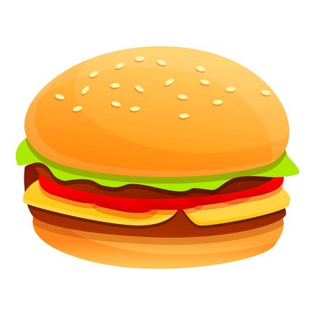 Burger icon. Cartoon of burger vector icon for web design isolated on white background Zdjęcie Seryjne - 147564754
