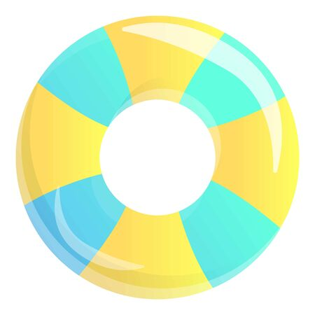 Striped inflatable ring icon. Cartoon of striped inflatable ring vector icon for web design isolated on white background