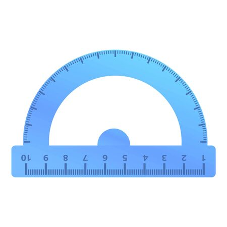 Plastic protractor icon. Cartoon of plastic protractor vector icon for web design isolated on white background