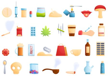 Addict icons set. Cartoon set of addict vector icons for web design