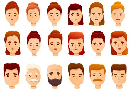 Wrinkles icons set. Cartoon set of wrinkles vector icons for web design