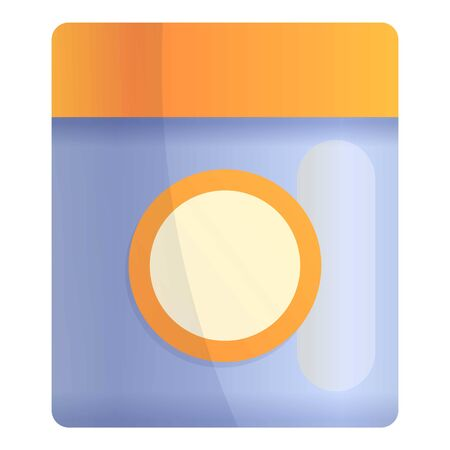 Hair gel jar icon. Cartoon of hair gel jar vector icon for web design isolated on white background