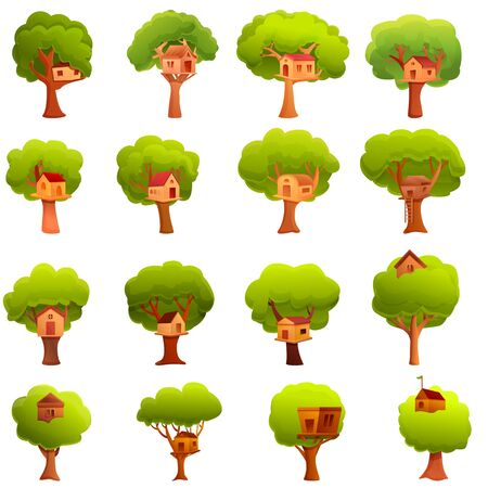 Tree house icons set. Cartoon set of tree house vector icons for web design