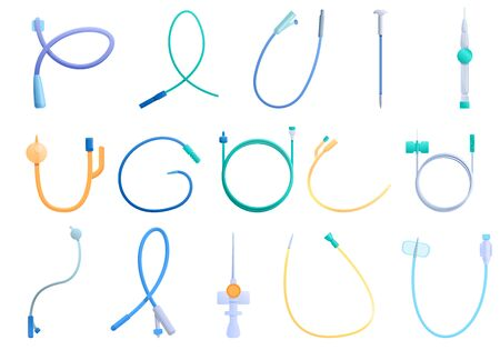 Catheter icons set. Cartoon set of catheter vector icons for web design