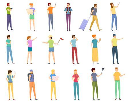 Sightseeing icons set. Cartoon set of sightseeing vector icons for web design Ilustracja