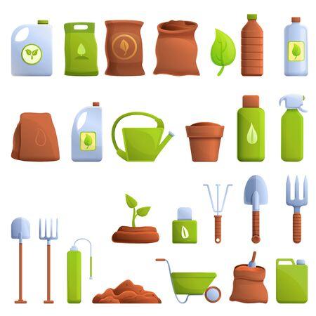 Fertilizer icons set. Cartoon set of fertilizer vector icons for web design Ilustracja