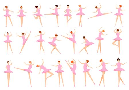 Ballet icons set. Cartoon set of ballet vector icons for web design