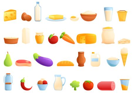 Farm products icons set. Cartoon set of farm products vector icons for web design