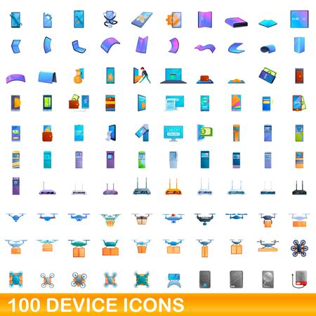 100 device icons set. Cartoon illustration of 100 device icons vector set isolated on white background