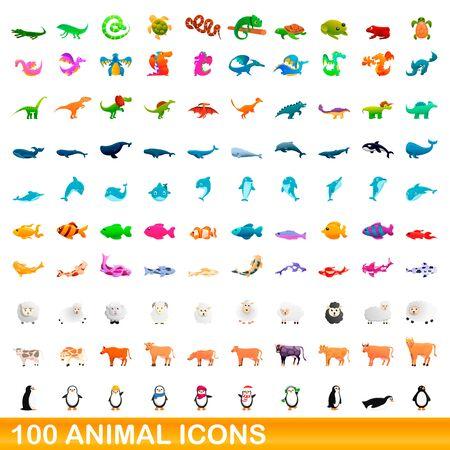 100 animal icons set. Cartoon illustration of 100 animal icons vector set isolated on white background Ilustracja