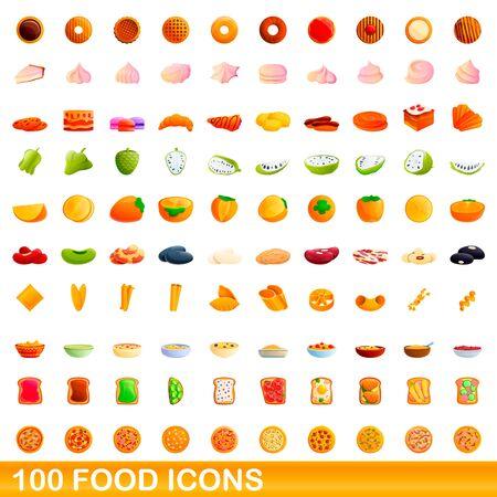 100 food icons set. Cartoon illustration of 100 food icons vector set isolated on white background Ilustracja