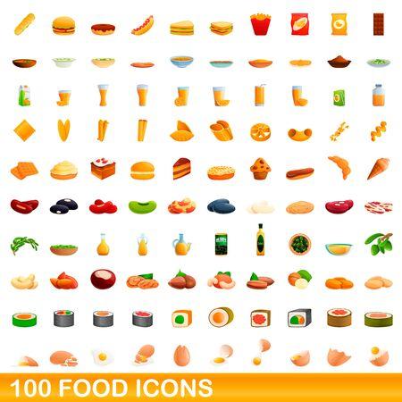 100 food icons set. Cartoon illustration of 100 food icons vector set isolated on white background Illustration