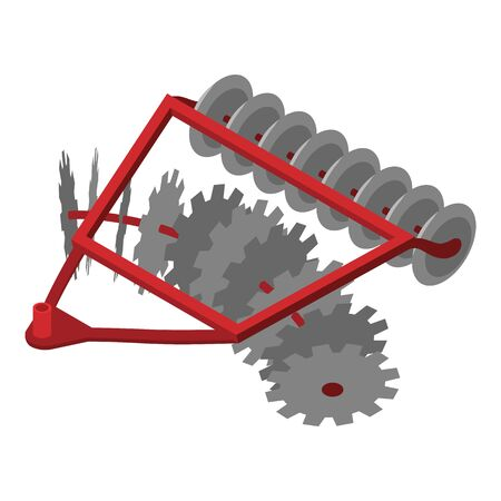 Disc tractor plow icon. Isometric of disc tractor plow vector icon for web design isolated on white background