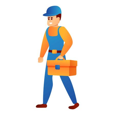 Repairman tool box icon. Cartoon of repairman tool box vector icon for web design isolated on white background Иллюстрация