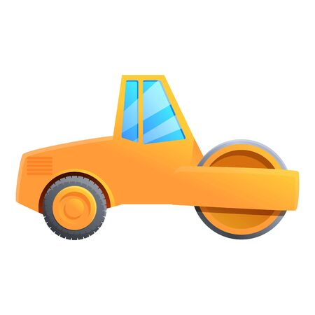 Construction road roller icon. Cartoon of construction road roller vector icon for web design isolated on white background