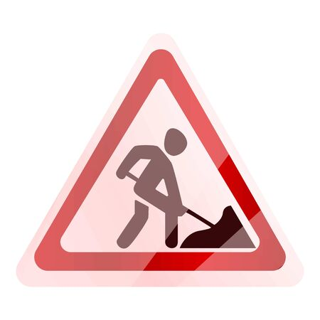 Road work sign icon. Cartoon of road work sign vector icon for web design isolated on white background