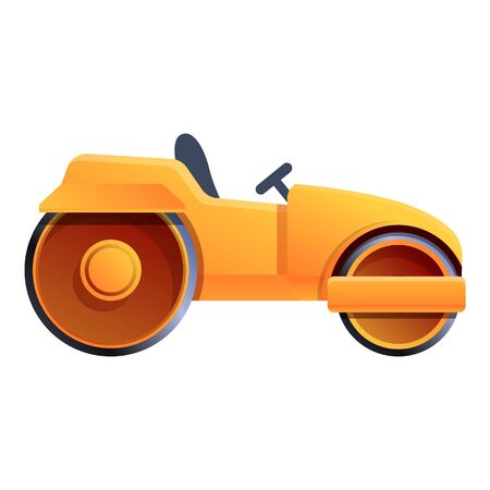 Heavy road roller icon. Cartoon of heavy road roller vector icon for web design isolated on white background Vectores
