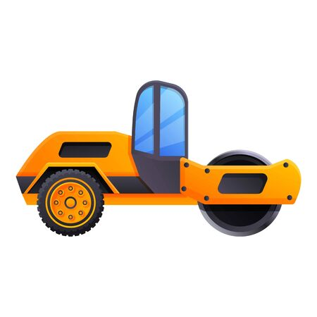 Road roller machine icon. Cartoon of road roller machine vector icon for web design isolated on white background