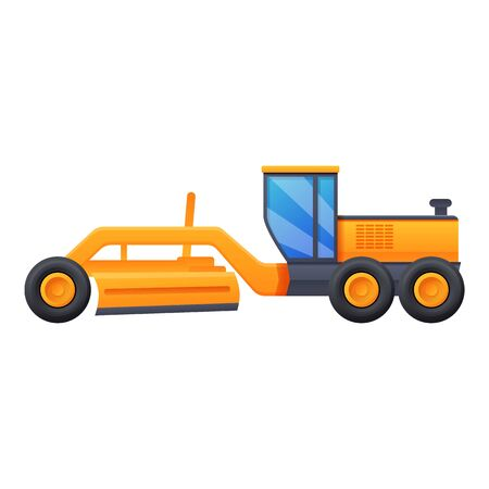 Tractor grader machine icon. Cartoon of tractor grader machine vector icon for web design isolated on white background Vetores