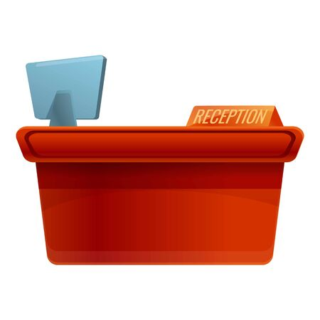 Hotel reception desk icon. Cartoon of hotel reception desk vector icon for web design isolated on white background