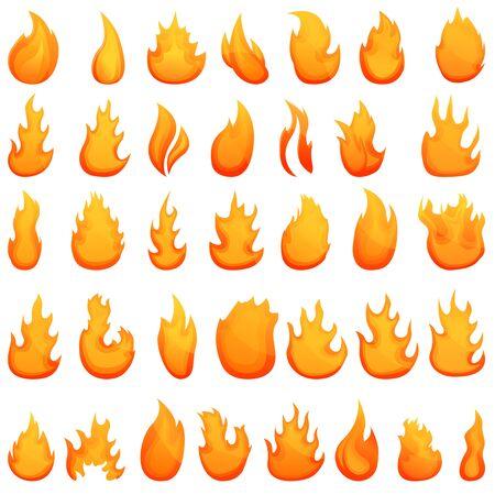 Fire flame icons set. Cartoon set of fire flame vector icons for web design Illusztráció
