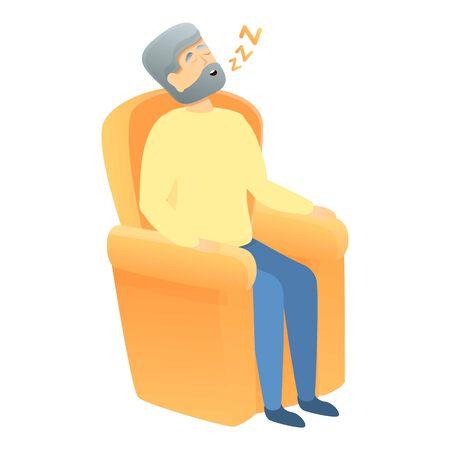 Sleeping grandpa icon. Cartoon of sleeping grandpa vector icon for web design isolated on white background Vektorgrafik
