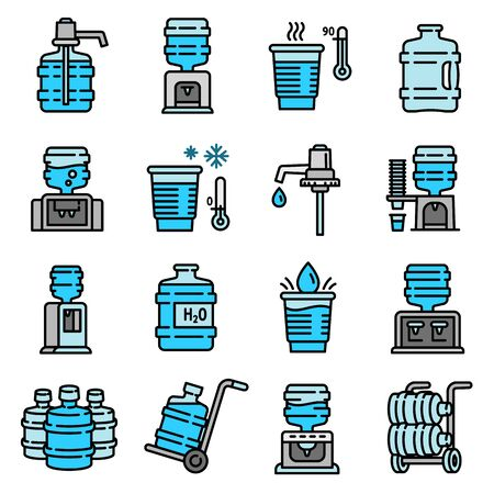 Cooler water icons set. Outline set of cooler water vector icons for web design isolated on white background Vettoriali