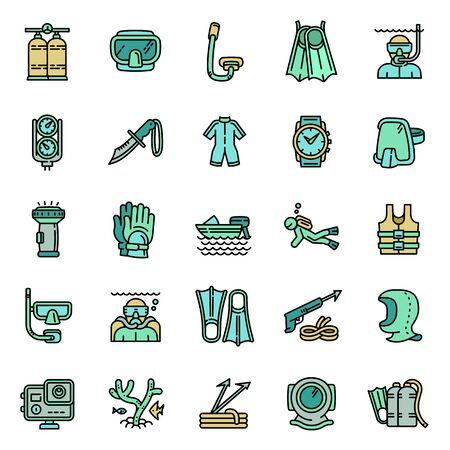 Snorkeling equipment icons set. Outline set of snorkeling equipment vector icons for web design isolated on white background Vector Illustratie