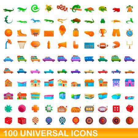 100 universal icons set. Cartoon illustration of 100 universal icons  set isolated on white background