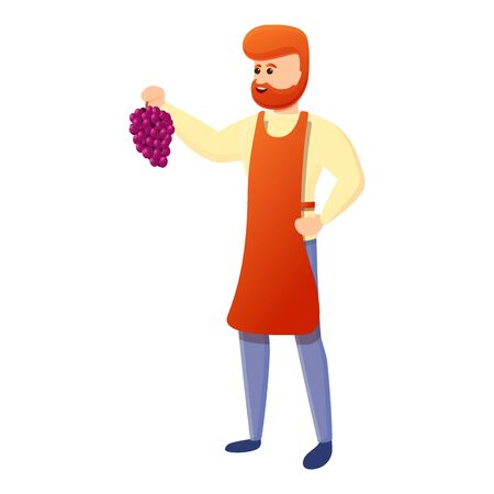 Winemaker with grapes icon. Cartoon of winemaker with grapes vector icon for web design isolated on white background