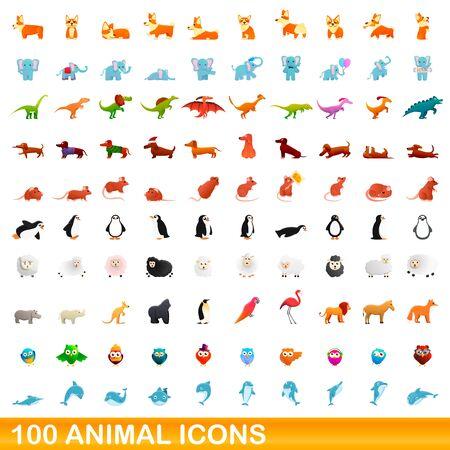 100 animal icons set. Cartoon illustration of 100 animal icons vector set isolated on white background 向量圖像