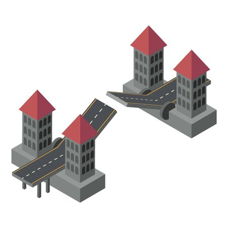 Tower bridge icon. Isometric of tower bridge vector icon for web design isolated on white background