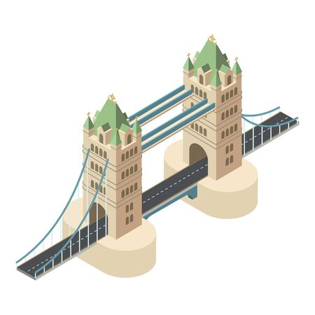 London bridge icon. Isometric of London bridge vector icon for web design isolated on white background
