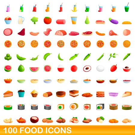 100 food icons set. Cartoon illustration of 100 food icons vector set isolated on white background 矢量图像