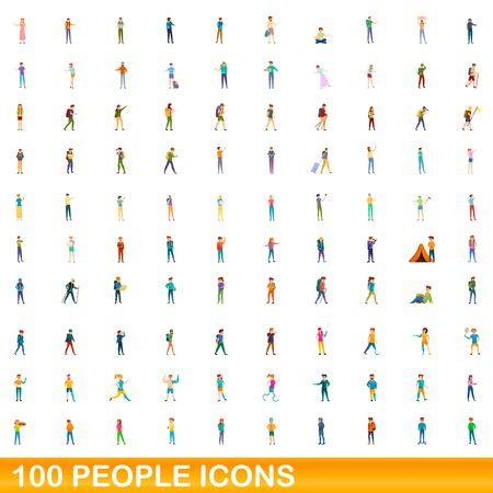 100 people icons set. Cartoon illustration of 100 people icons set isolated on white background Illusztráció