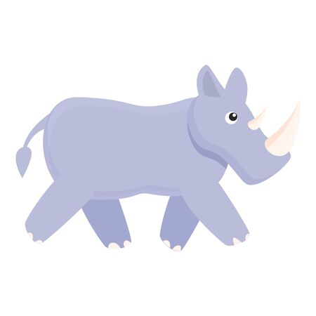 Walking rhino icon. Cartoon of walking rhino vector icon for web design isolated on white background