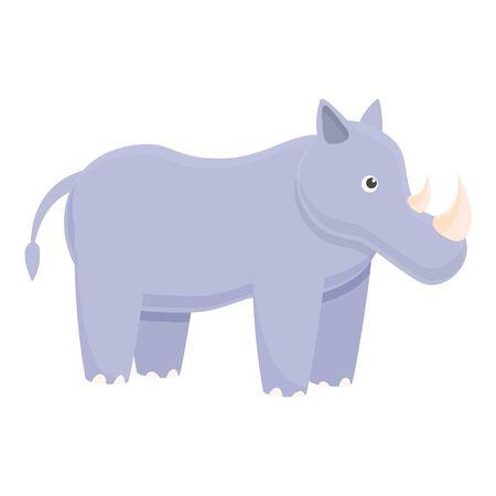 Zoo rhino icon. Cartoon of zoo rhino vector icon for web design isolated on white background