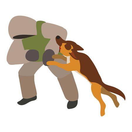 Dog attack enemy training icon. Isometric of dog attack enemy training vector icon for web design isolated on white background