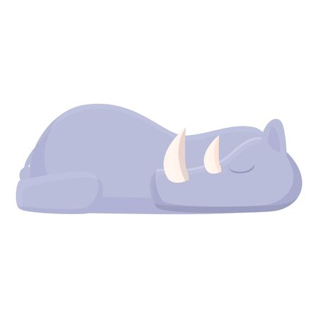 Sleeping rhino icon. Cartoon of sleeping rhino vector icon for web design isolated on white background 向量圖像